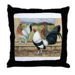 Duckwing Bantam Chickens Throw Pillow