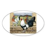 Duckwing Bantam Chickens Oval Sticker (10 pk)