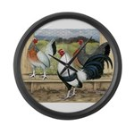 Duckwing Bantam Chickens Large Wall Clock