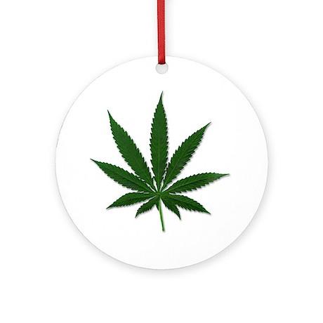 Marijuana Pot Leaf Ornament (Round)