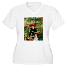 Renoir Two Sisters Womens Plus Size V-Neck T-Shirt