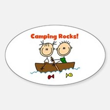 Camping Rocks Oval Decal