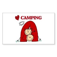 I Love Camping Rectangle Decal