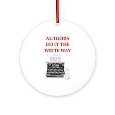 funny author writer pun Ornament (Round)