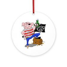 Pig Pirate Captain Ornament (Round)