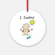 Boy I Swim Ornament (Round)