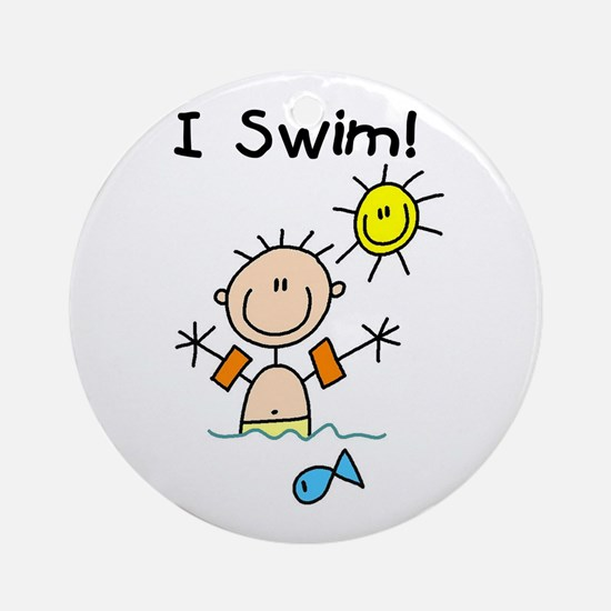 Boy I Swim Ornament (Round)