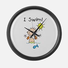 Boy I Swim Large Wall Clock