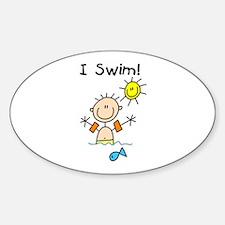 Boy I Swim Oval Decal