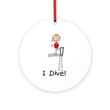 Girl I Dive Ornament (Round)