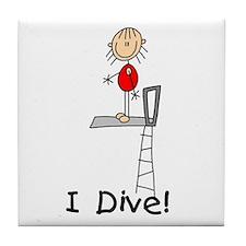 Girl I Dive Tile Coaster