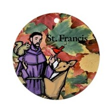 Saint Francis Leaves Ornament (Round)