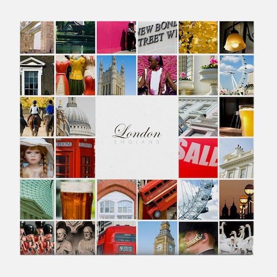 London collage Tile Coaster
