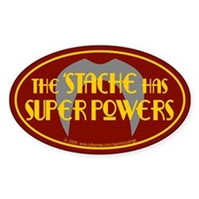 'Stache super powers. Oval Decal