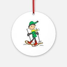 Winter Snowshoeing Ornament (Round)