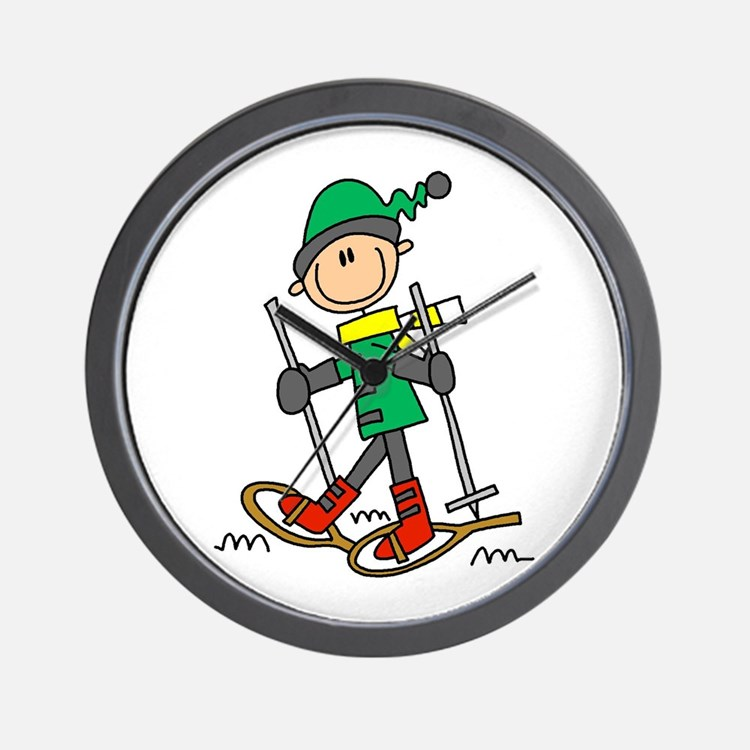Winter Snowshoeing Wall Clock