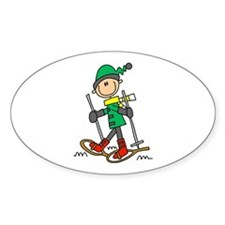 Winter Snowshoeing Oval Decal