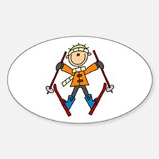 Snow Skiing Oval Decal