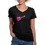 Guitar - McKenzie - Pink Women's V-Neck Dark T-Shi