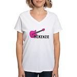 Guitar - McKenzie - Pink Women's V-Neck T-Shirt