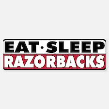 Eat Sleep Razorbacks Bumper Car Car Sticker