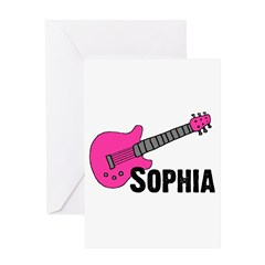 Sophia - Guitar - Pink Greeting Card