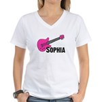 Sophia - Guitar - Pink Women's V-Neck T-Shirt