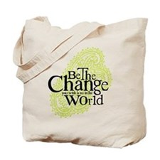 Paisley Green - Be the change Tote Bag