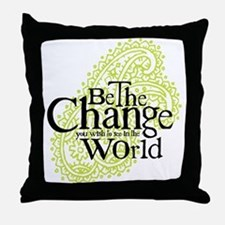 Paisley Green - Be the change Throw Pillow