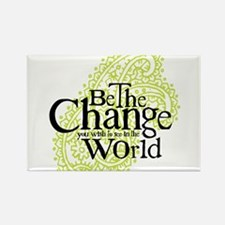 Paisley Green - Be the change Rectangle Magnet (10
