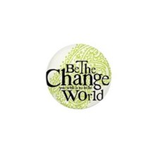 Paisley Green - Be the change Mini Button