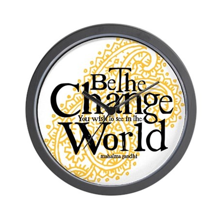Paisley Peach - Be the change Wall Clock