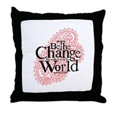 Paisley Pink - Be the change Throw Pillow