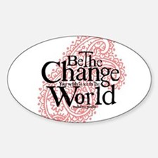 Paisley Pink - Be the change Oval Decal