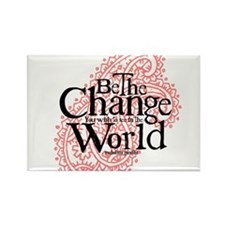 Paisley Pink - Be the change Rectangle Magnet