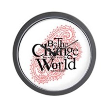 Paisley Pink - Be the change Wall Clock