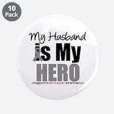 "BrainCancerHero Husband 3.5"" Button (10 pack)"