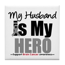 BrainCancerHero Husband Tile Coaster