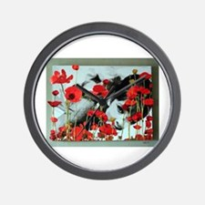 Audrey in Poppies Wall Clock