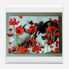 Audrey in Poppies Tile Coaster