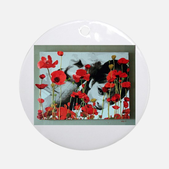 Audrey in Poppies Ornament (Round)