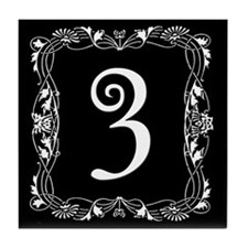 Black and White Art Nouveau House Tile Number 3