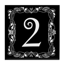 Black and White Art Nouveau House Tile Number TWO