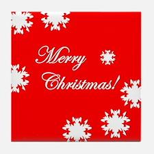 Merry Christmas Snow Tile Coaster
