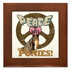 Peace Love and Ponies Framed Tile