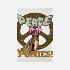 Peace Love and Ponies Rectangle Magnet