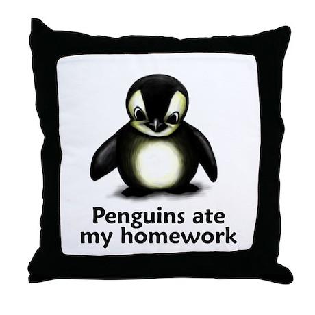 Penguins ate my homework Throw Pillow