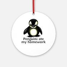 Penguins ate my homework Ornament (Round)