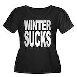 Winter Sucks Women's Plus Size Scoop Neck Dark T-S