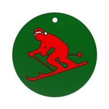 Christmas Skier Ornament (Round)